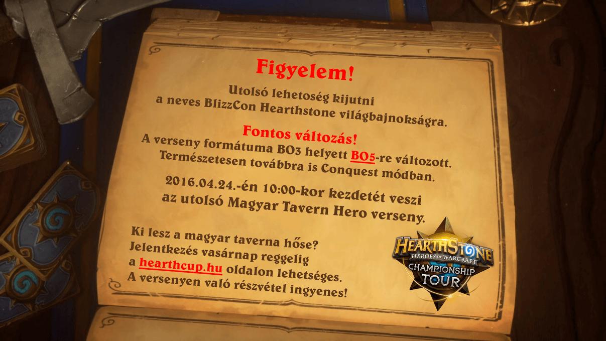 Tavern Hero Bajnokság április 24-én (utolsó magyar Tavern Hero)