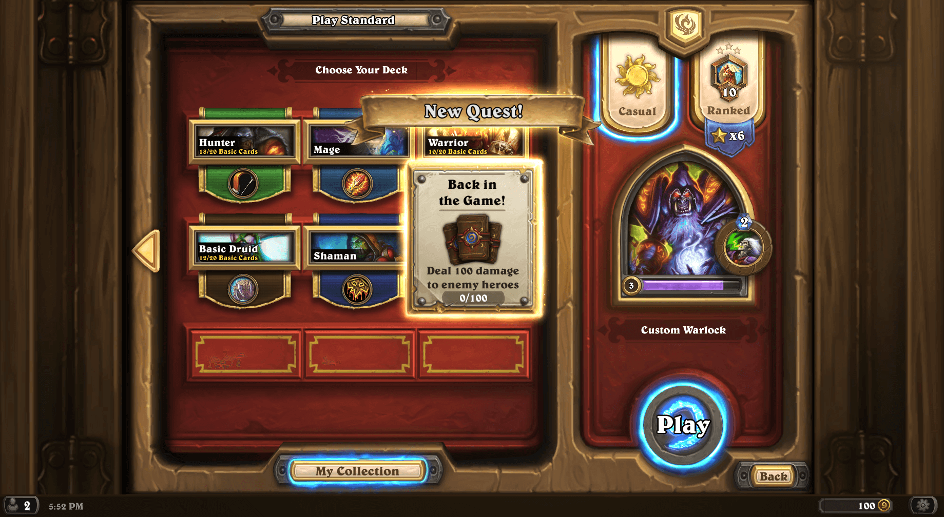 Back in the Game Hearthstone