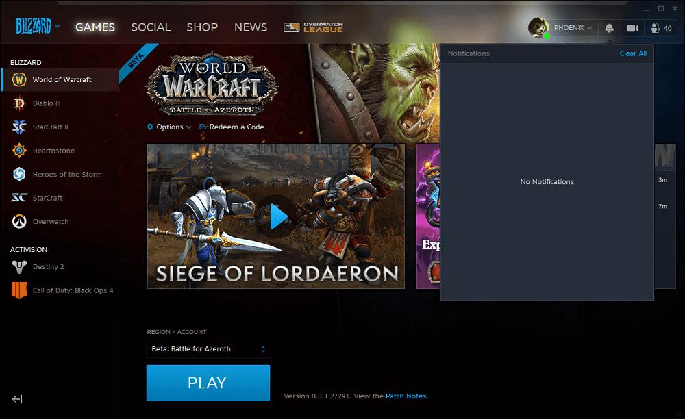 Blizzard BattleNet értesítések