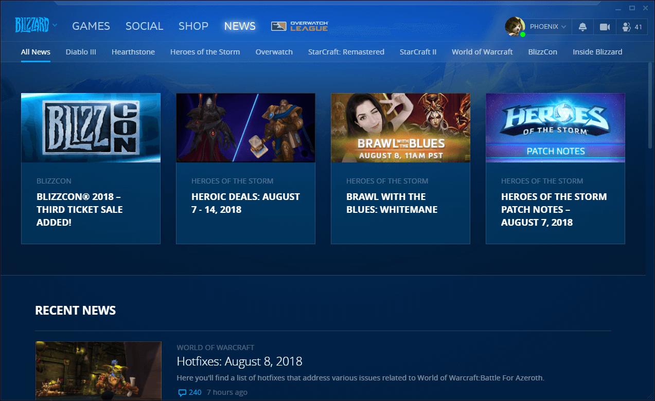 Blizzard BattleNet hírek