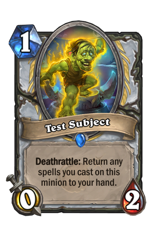 Test Subject Hearthstone kártya