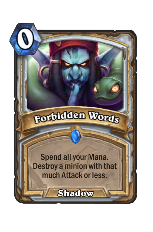 Forbidden Words Hearthstone kártya