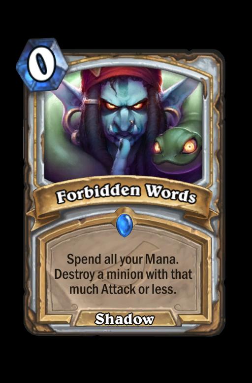 Forbidden Words Hearthstone kártya