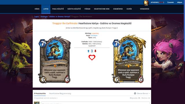 Kártyaadatbázis és pakli készítő frissítve (Goblins vs Gnomes)