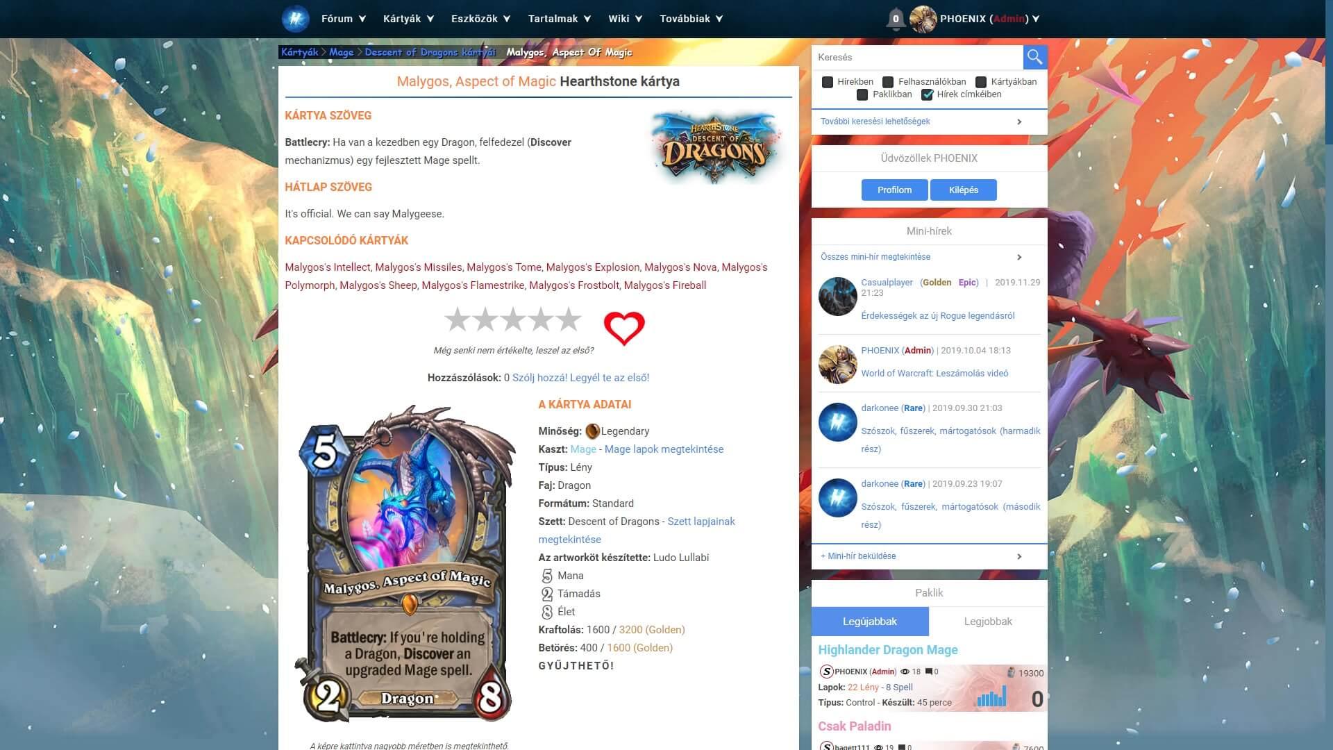 Malygos, Aspect of Magic Hearthstone kártya