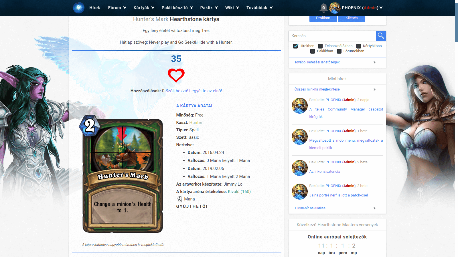Hearthstone Hungary kártyák