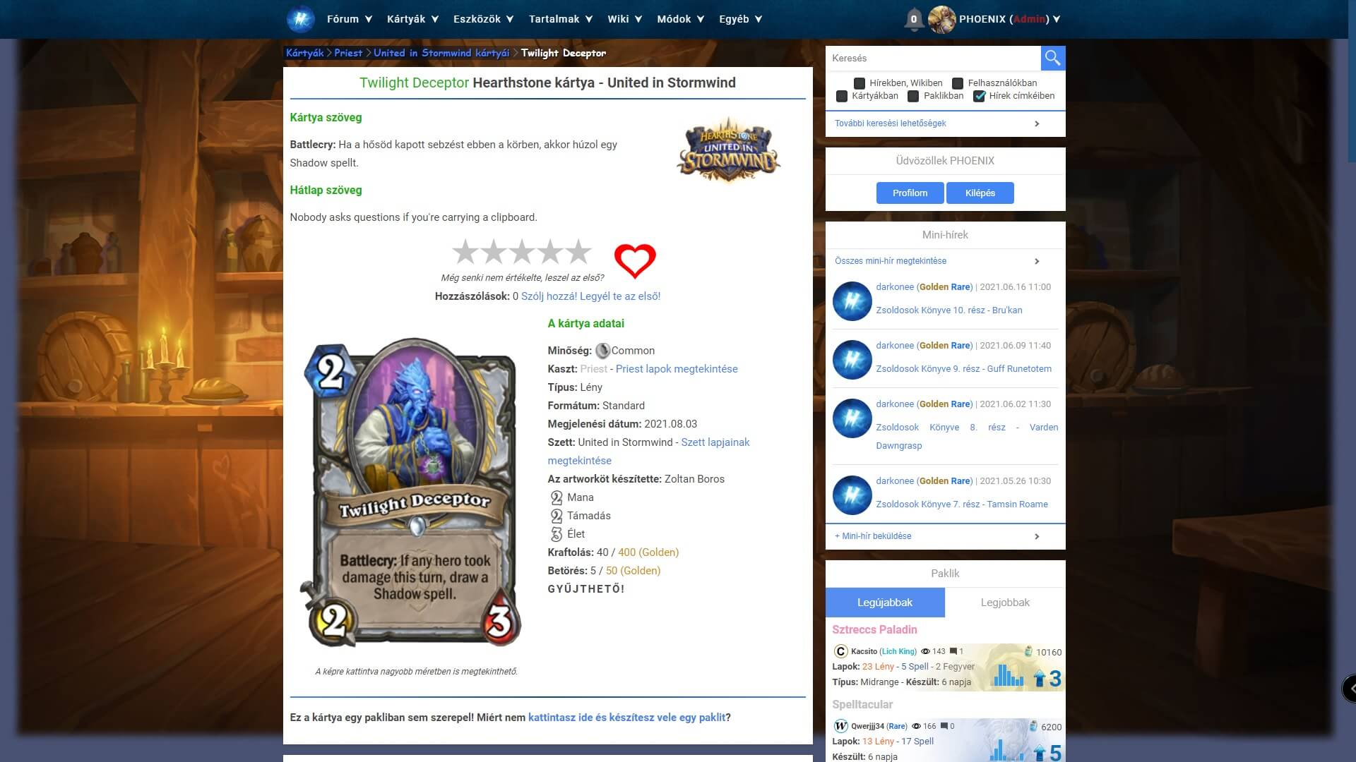 Twilight Deceptor Hearthstone kártya