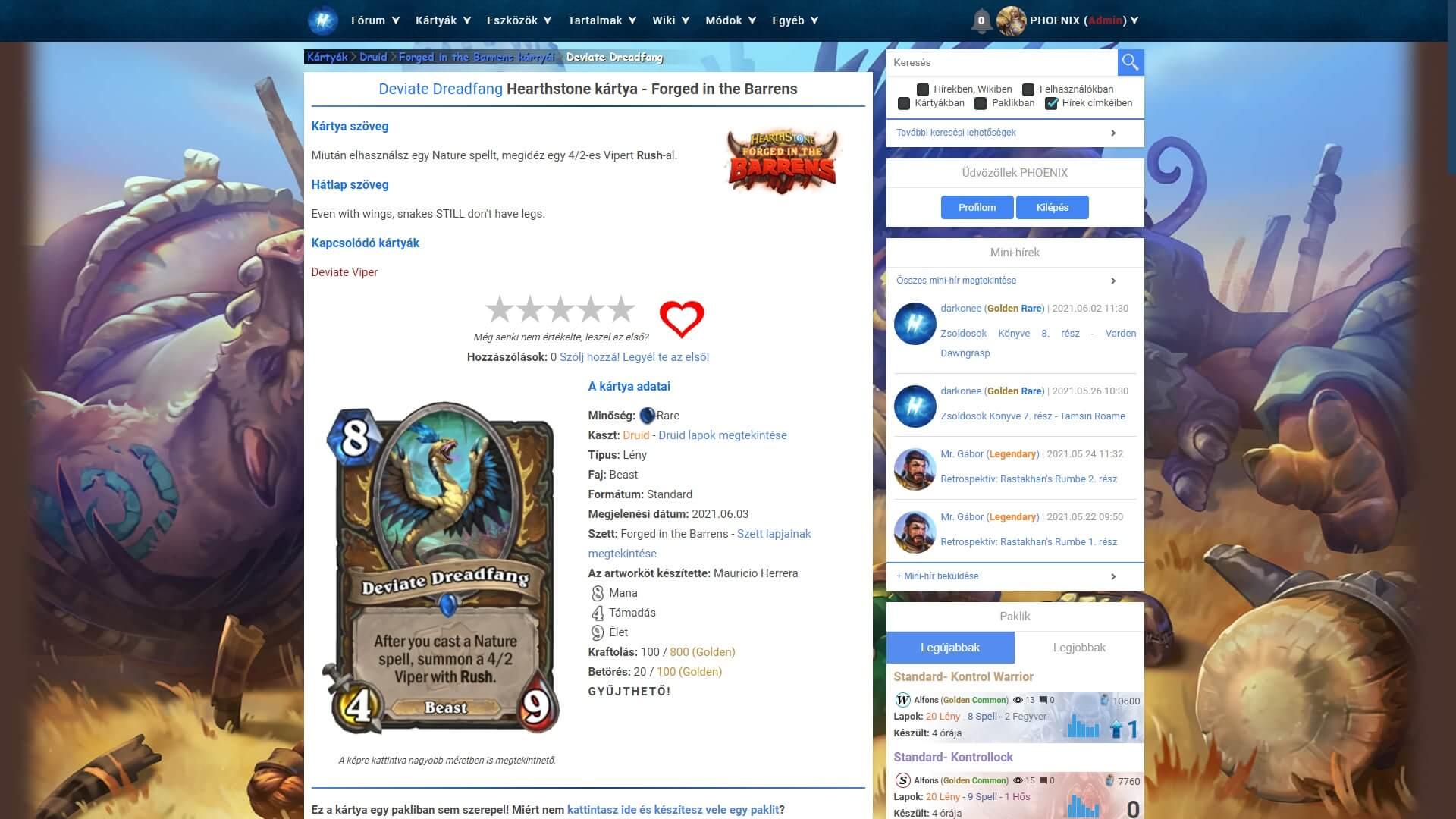 Deviate Dreadfang Hearthstone kártya