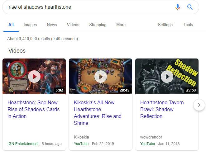 Rise of Shadows kiegészítő Hearthstone