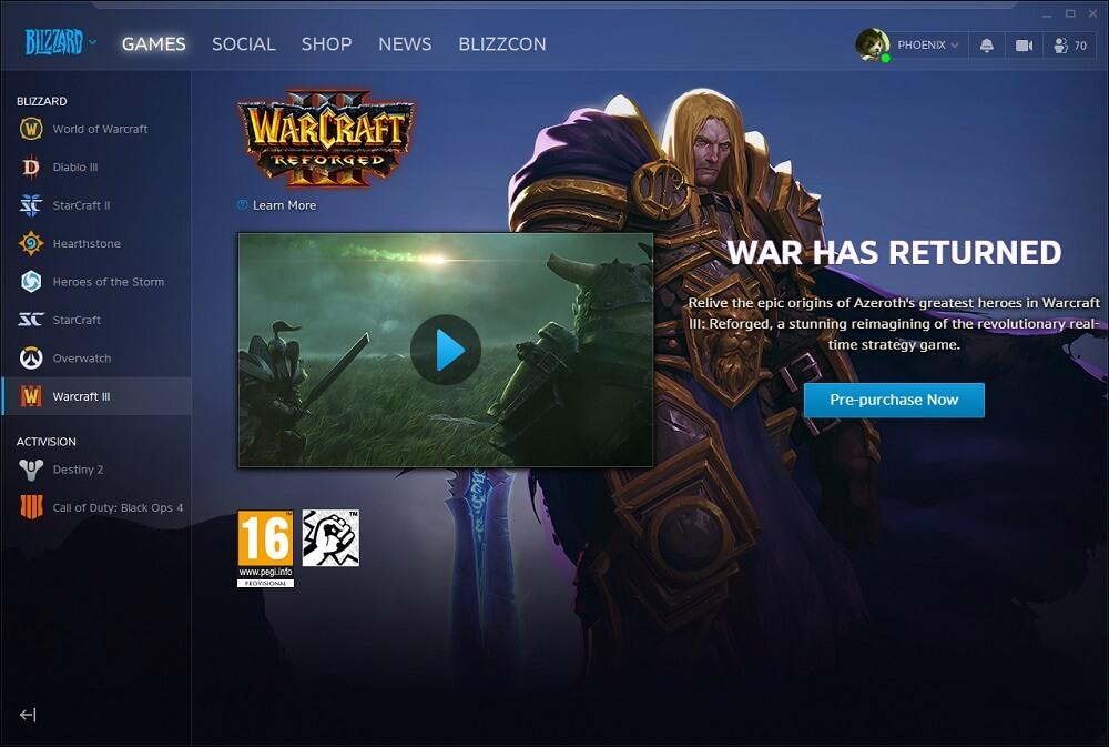 Warcraft III: Reforged a Battle.net appban (előrendelési lehetőség)