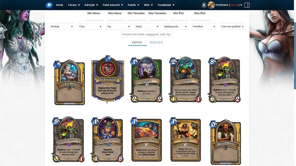 Battlegrounds kártyái