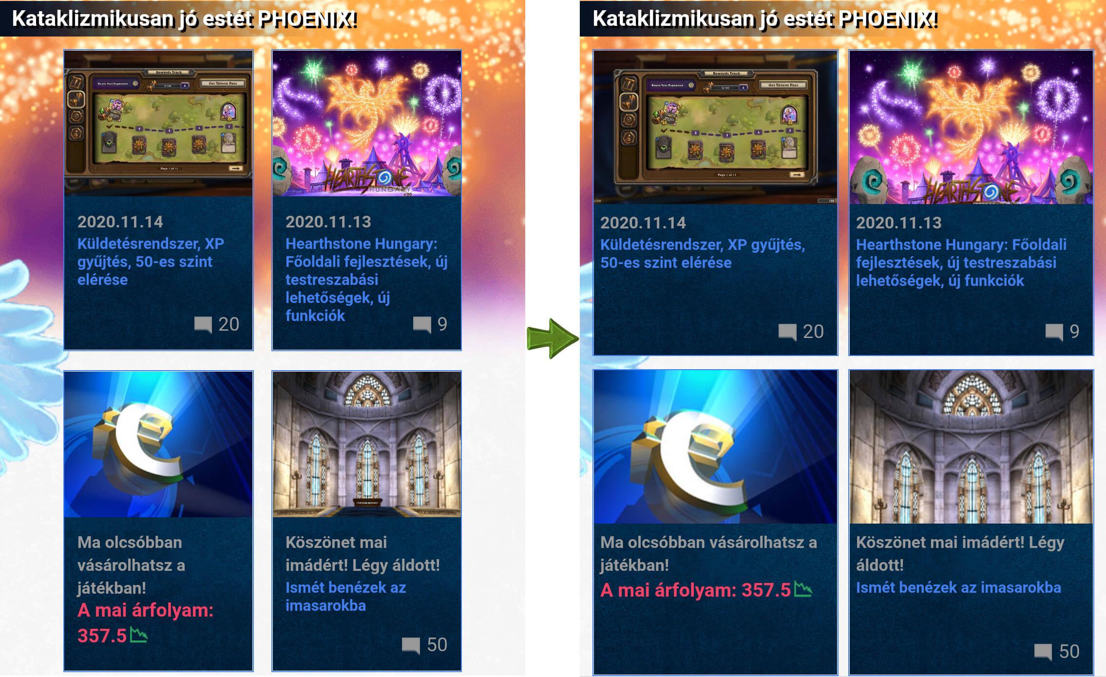 Hearthstone Hungary v19 és v20 összehasonlítás mobilon