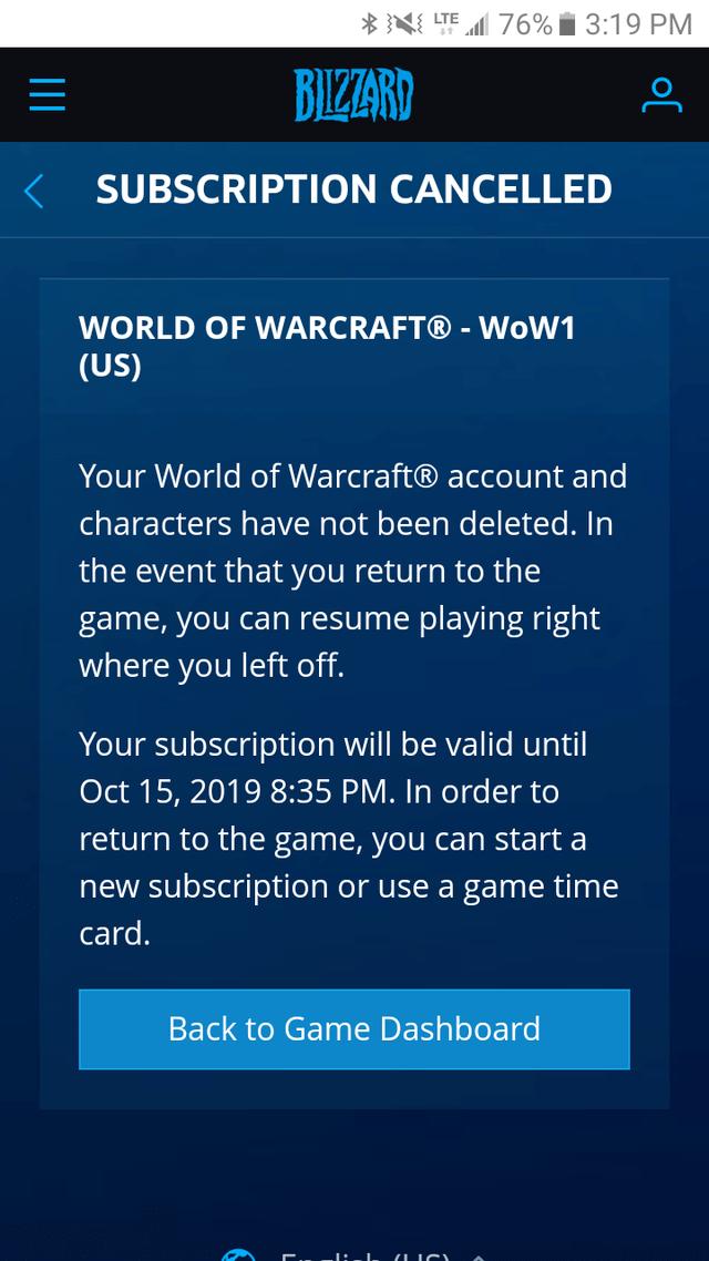 World of Warcraft előfizetés lemondása