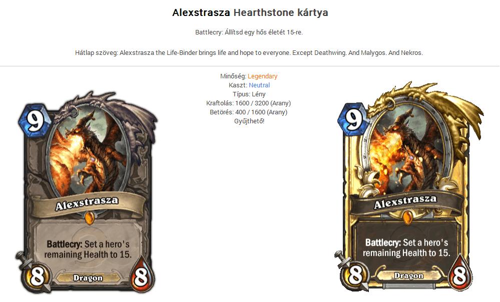 Hearthstone Alexstasza legend kártya