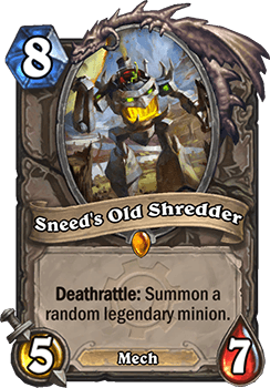 sneeds old shredder goblins vs gnomes hearthstone kártya