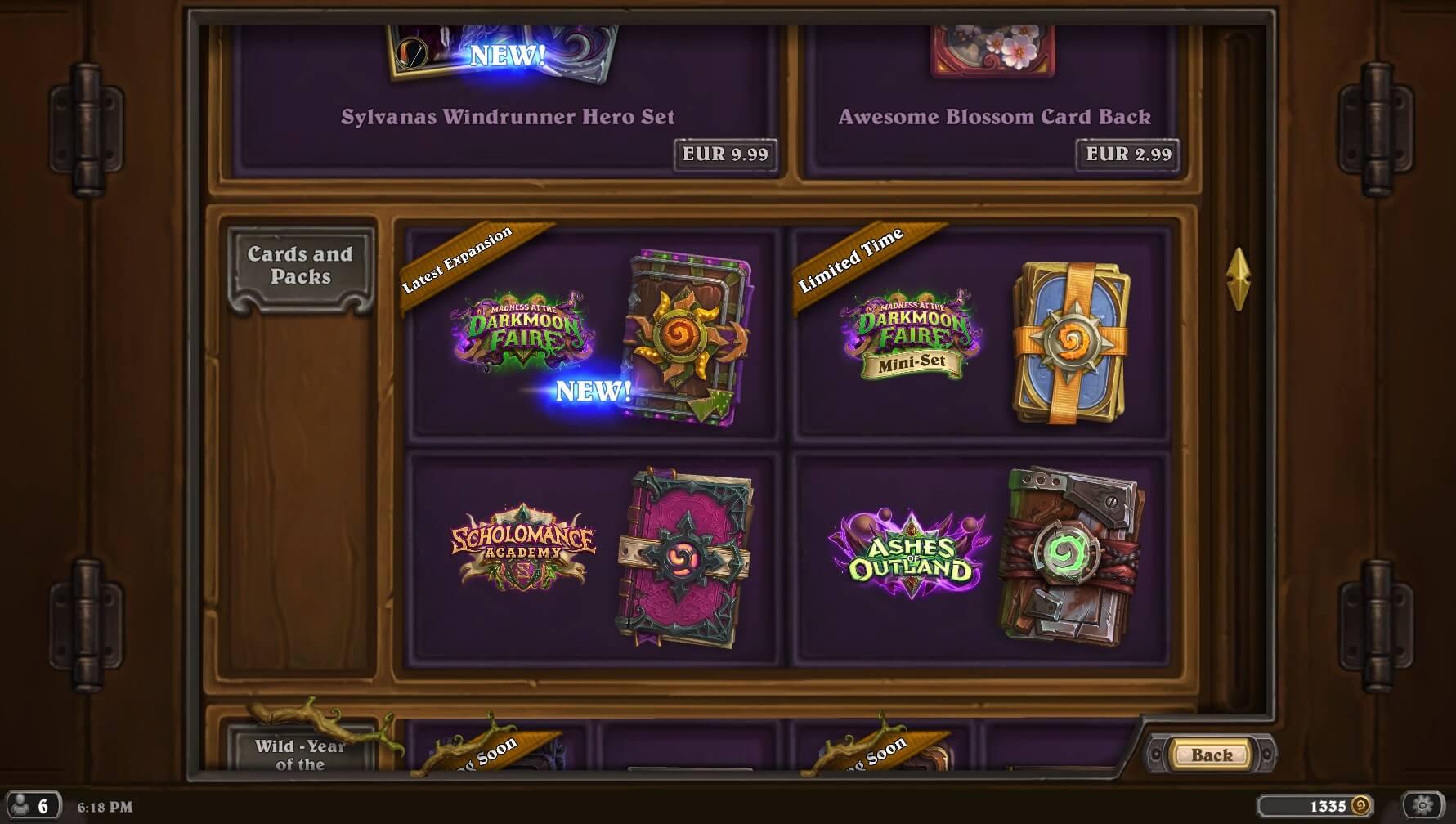 Hearthstone Shop, kártyacsomag vásárlás