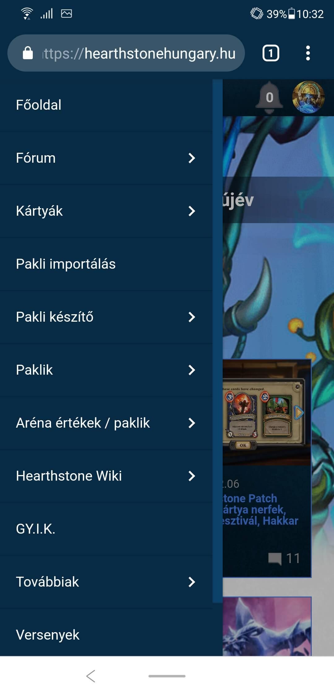 Hearthstone Hungary mobilmenü
